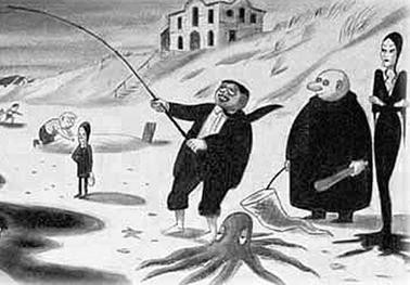 A new Yorker in which the Addams family are fishing.